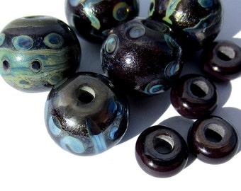 Handmade Glass Lampwork Beads silver plum metallic round and donut
