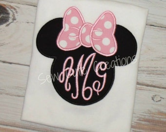 Girl Mouse shirt, Girl Mouse Ears shirt, Monogram Girl Mouse Shirt, Mouse ears monogram shirt, girl mouse outfit, sew cute creations