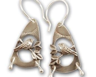 Meadowlark Earrings - Sterling Silver Bird Earrings