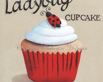 Cupcake Print Ladybug