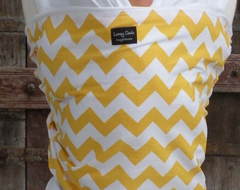 ORGANIC COTTON Baby Wrap Sling Carrier-Yellow Chevron on White-DvD Included-One Size Fits All-Newborn -Toddler