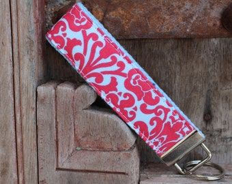 READY TO SHIP-Beautiful Key Fob/Keychain/Wristlet-Coral Damask on Light Blue