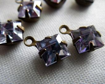 Alexandrite Vintage Swarovski Crystal Square 6x6mm Brass Ox Drops One Loop 6 Pcs