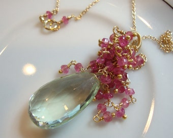 Green Amethyst Pink Sapphire Necklace