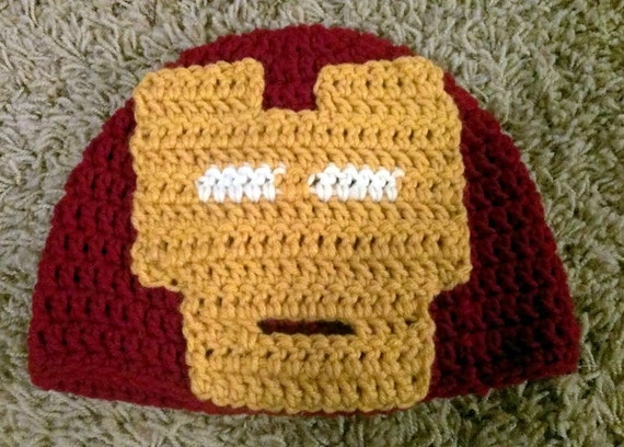 Free Crochet Pattern Iron Man Hat : Iron Man Inspired Crochet Beanie Marvel Hat