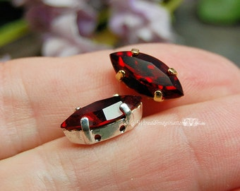 Siam Ruby Red, Swarovski 15x7mm Navette Marquise Shape, Sew On Setting, Swarovski Rhinestone Crystal Setting, Crystal Sew On July Birthstone