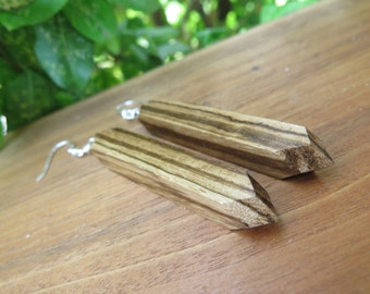 Geometric Exotic Wood Earrings - Zebrawood - Zebra Stripe - Natural Hippy - Funky Wooden Jewelry - Dark Light - Brown Beige - Pointed Point