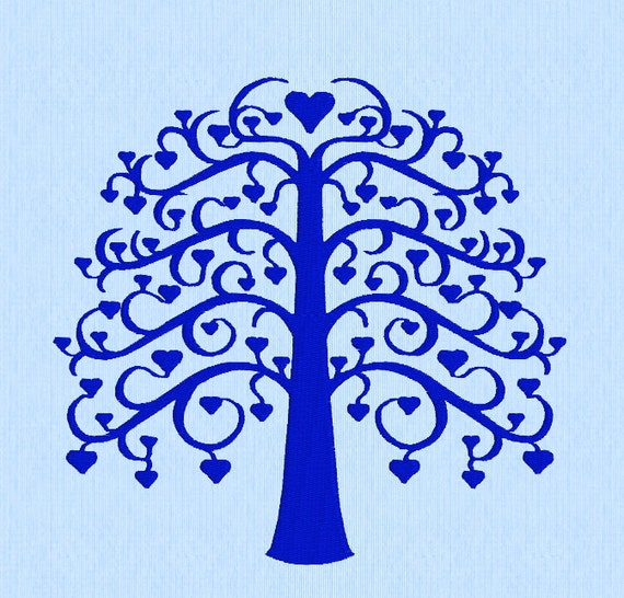 Tree of Life with Heart Leaves - Machine Embroidery Pattern in  three sizes
