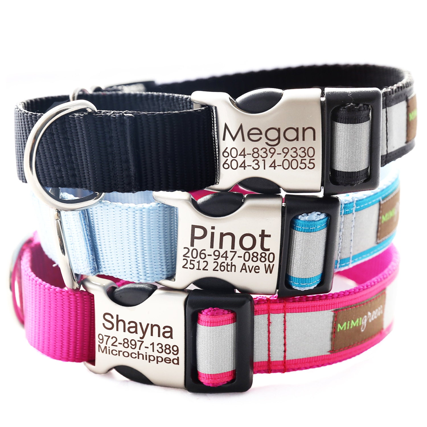 Personalized Reflective Martingale Dog Collar With Laser