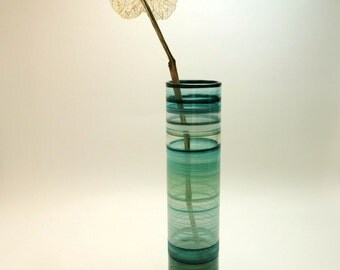 Hand Painted Glass Bud Vase- Original Blue Green Home Decor- Sea and Sky Colors
