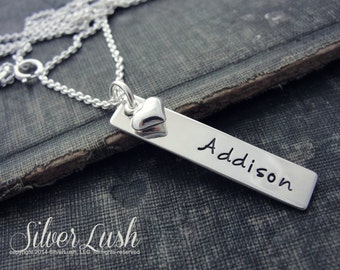 Sterling Silver Hand Stamped Tag Necklace with Sterling Heart Charm