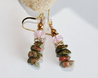 Pink and Green Earrings, Unakite, Pink Rose Quartz, Gemstone Chip Earrings