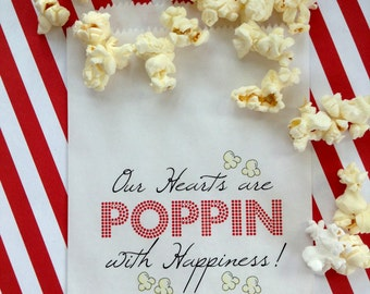 Popcorn Bags, Wedding favor bags,Popcorn favor bags, birthday party, Favor bags, Wedding, Bridal Shower,CUSTOM COLOR