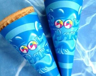 Printable Ice Cream Cone Wrappers,  DIY, Sugar Cone Wraps, Pool party, Birthday Party, splash party
