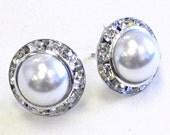 Bridal Earrings, Pearl  Post earrings, Small Wedding  Earrings, Ivory pearl, white pearl, stud earrings, Wedding Jewelry, Vintage style