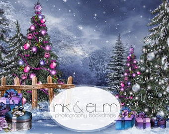 "Christmas Photography Backdrop 6ft x 5ft, Christmasy Background, Christmas tree light and snow scene photo Backdrop ""Spirit of Christmas"""
