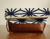 The Geometori Pouch ///// Geometric Pouch. Patterned Clutch. Navy Blue Cosmetic Bag. Brown Leather Pouch.