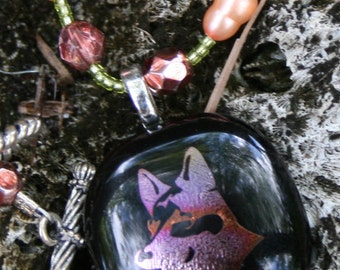 You will love this German Shepherd Necklace-- DICHROIC Fused Glass Necklace