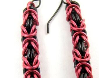 Black Earrings, Burgundy Earrings, Chainmaille Earrings, Dangle Earrings, Garnet Chainmail Jewelry, Red and Black Earrings