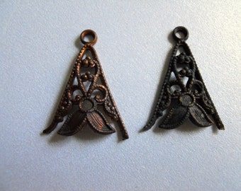 Vintage Oxidized Brass Floral Filigree Findings