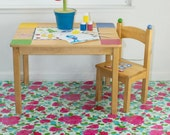 "Splat Mat/Tablecloth ""Sky Bougquet"" - Laminated Cotton BPA  & PVC Free - Choose Your Size below!"
