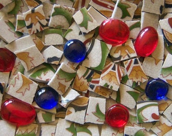 Mosaic Tiles--Fleur De lis/Custom mix--Free glass gems 100 Tiles