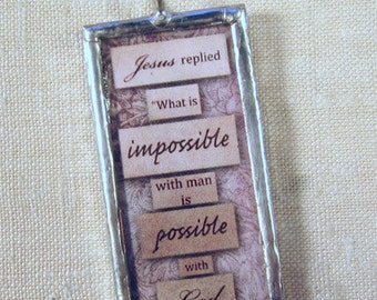 Soldered Charm Pendant Possible with God  Religious Christian Inspirational