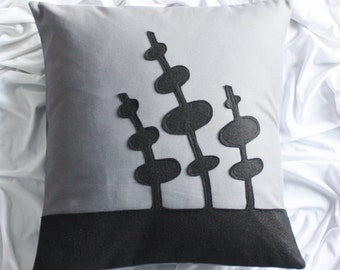 "Black and Gray Pillow Cover  15"" x 15"""