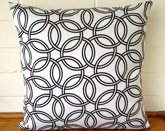 Black and White Circles Geometric Cushion Cover
