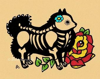 Day of the Dead Dog POMERANIAN Dia de los Muertos Art Print 5 x 7, 8 x 10 or 11 x 14 - Choose your words - Donation to Austin Pets Alive
