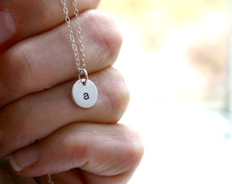 Sterling Silver Small Initial Necklace - Hand Stamped Silver Jewelry - Personalized Necklace