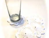 White Crocheted Coasters-Set Of Four