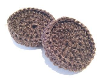 Set Of Two Dark Brown Crocheted Nylon Netting Dish Scrubbies