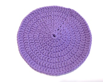 Hot Purple Crocheted Round Dish Cloth