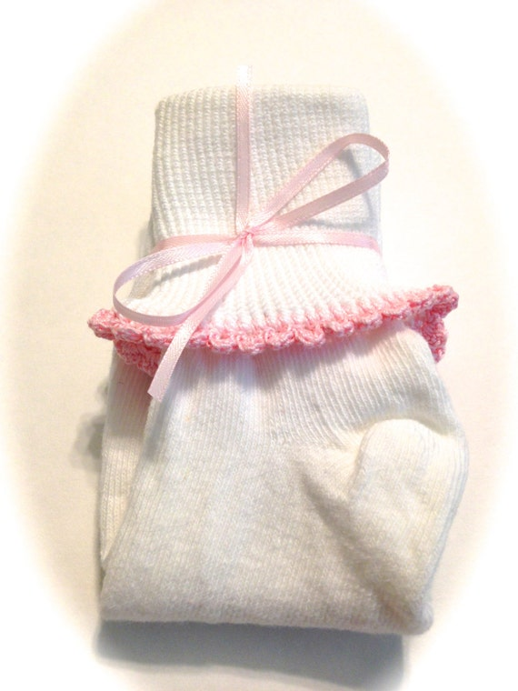 Girl's Bobby Socks With Orchid Pink Crocheted Shell Stitch Size LARGE 4-10