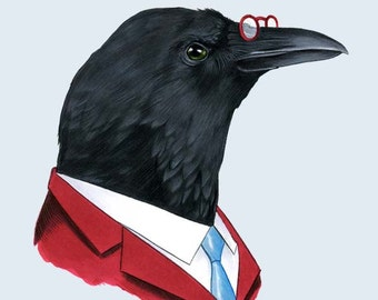 Crow Gentleman art print 8x10