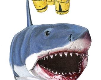 Jaws The Shark Limited Edition Art Print by Ryan Berkley