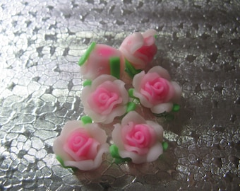 12 Pink Rose Beads  14mm Polymer Clay Fimo Flower beads