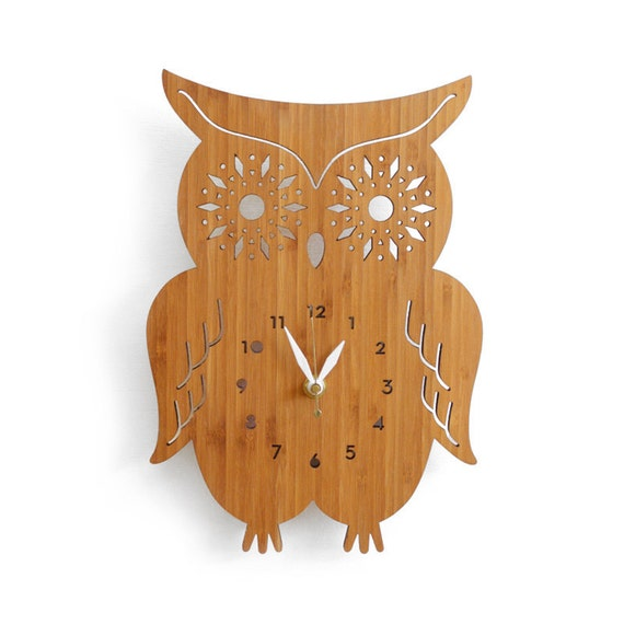 Wall Clock Owl Design : Owl wall clock with starburst eyes modern