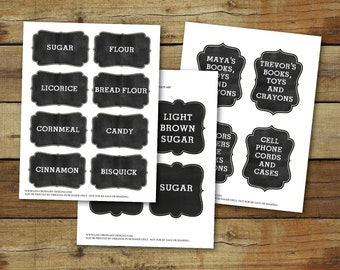 Printable chalkboard tags, customized, printable tag pdf, editable text, instant download