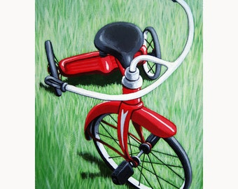 SALE! Little Red TRICYCLE original painting on canvas