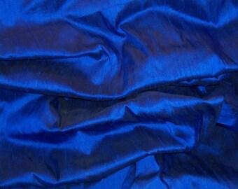 100 o/o dupioni Silk Fabric amazin COBALT BLUE great texture great slubs - perfect for doll house decor crazy quilt fiber arts collage