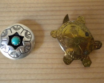 Vintage Native American button covers - one blossom with turquoise and one brass turtle