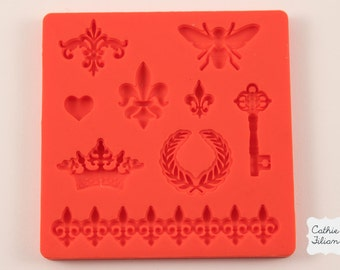 crown, fleur de lis, key, bee silicone rubber mold - 9 designs - resin, polymer clay, mod melts, candy, utee, plaster, wax, soap, epoxy clay