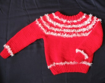 Handknit Red and WhiteYoke Style Pullover Sweater for Toddlers