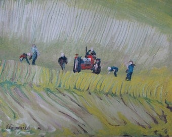 """Art & Original Landscape Oil Painting Impressionist Abstract Worker Farming Tractor Appalachian Quebec Canada Fournier """"The Rock Pickers No2"""