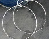 Extra Large Eternity Earrings, Sterling Silver Hoops, Round Hoops, Hammered texture, Dangle Hoops
