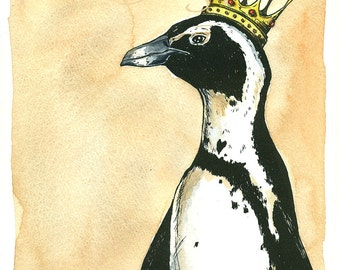 Penguin Queen  8x10 hand painted print