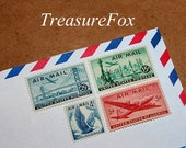 Cross-Country Flight .. PREMIUM .. Unused Vintage US Postage Stamps .. mail 15 letters.  Travel, vacation, Airports, Eagles, pack your bags
