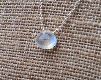 Moonstone Simple Drop Sterling Silver Necklace. Magnolia Jewel Designs